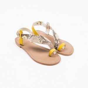 Sandals Nabuk Giallo pitone stampato
