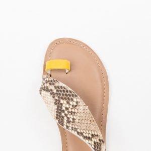 Sandalo Nabuk Giallo pitone stampato
