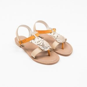 Sandals Vacchetta beige nabuk arancio stampato