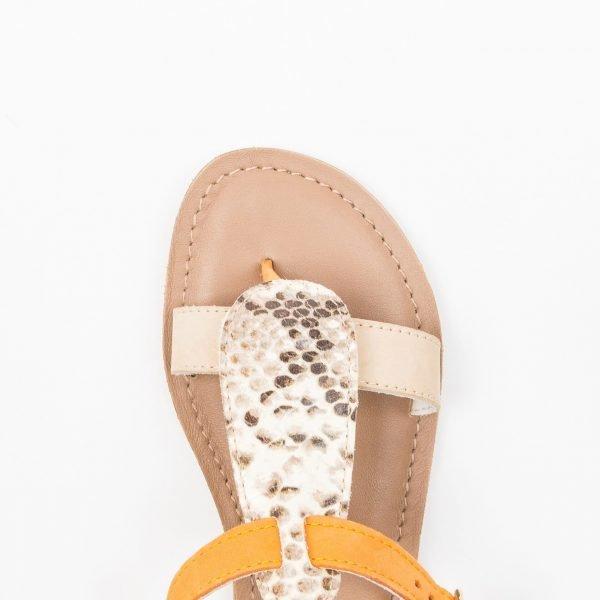 Sandali Vacchetta beige nabuk arancio stampato