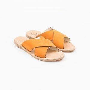 Sandals nabuk arancio cuoio lavato