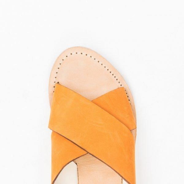 Sandali nabuk arancio cuoio lavato
