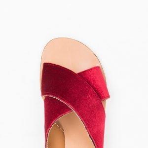 Sandalo velluto rosso