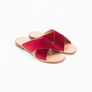 Sandals velluto rosso