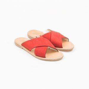 Sandals nabuk rosso cuoio lavato