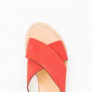 Sandalo nabuk rosso cuoio lavato