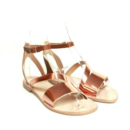 Sandalo donna Anna Palù specchio rame vacchetta marrone fondo cuoio
