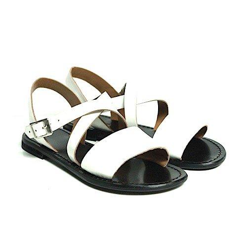 Sandalo Anna Palu abrasivato bianco con fondo nero