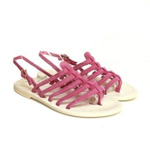 Women sandals Renato L'Artigiano mignon suede fuchsia bottom leather drum dyed white