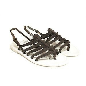 Women sandals Renato L'Artigiano mignon suede dark brown bottom leather drum dyed white
