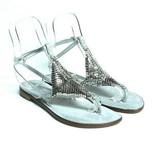 Women sandals Renato L'Artigiano mignon laminated silver leather bottom