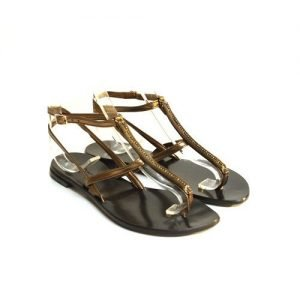 Women sandals Renato L'Artigiano mignon rolled bronze bottom leather