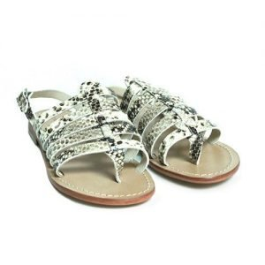 Women sandals Renato L'Artigiano leather rock python skin bottom washed natural