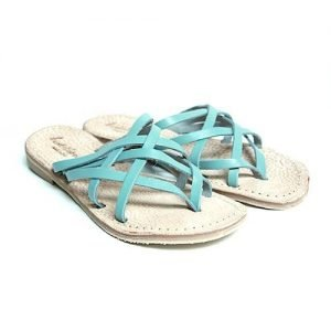 Women Sandals Renato L'Artigiano cowhide sky blue bottom leather washed natural