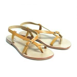 Women sandals Renato L'Artigiano cowhide yellow bottom leather washed natural