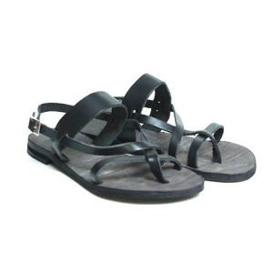 Women sandals Renato L'Artigiano cowhide black bottom leather washed black