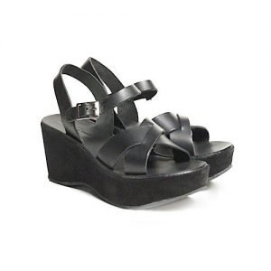 Women sandals Renato L'Artigiano cowhide black wedge wrapped in black leather H75
