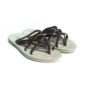 Women sandals Renato L'Artigiano cowhide dark brown bottom leather washed