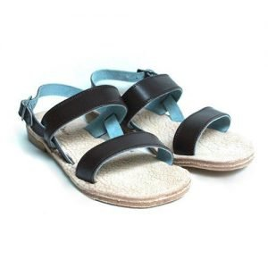 Women sandals Renato L'Artigiano cowhide dark brown bottom leather washed natural