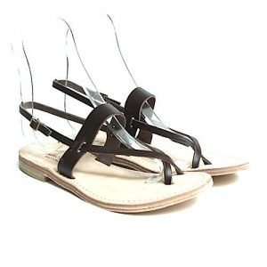 Women sandals Renato L'Artigiano cowhide dark brown flip flops bottom leather washed natural