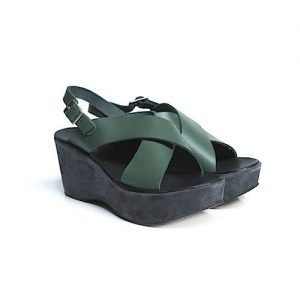 Women sandals Renato L'Artigiano cowhide green wedge heel wrapped in suede asphalt H75