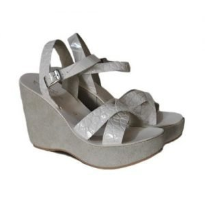 Woman Sandals Renato The Artisan white coconut bandaged suede wedge stucco H110
