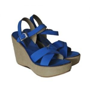 Woman Sandals Renato l'Artigiano blue nubuck suede wedge bandaged stucco H110