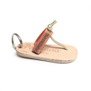 Keychain mini in leather with orange glitters mod. 002