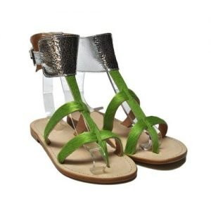 Women Sandals Anna Palu green laminate horse cracked silver background leather T10