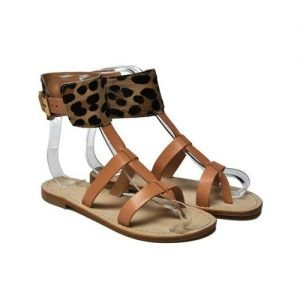 Women sandals Anna Palu natural cowhide kamari brown background leather T10