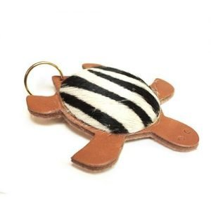 Keychain mini leather turtle zebra mod. 001