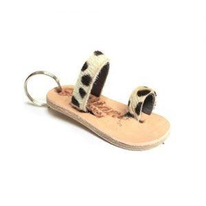 Keychain mini leather cheetah yellow mod. 001