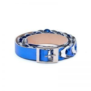 Belt Renato L'Artigiano Laminated cornflower blue white cowhide