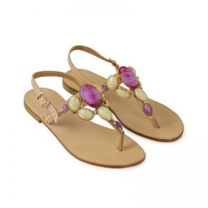 Women sandals Anna Palù abraded cream leather footbed white background micro