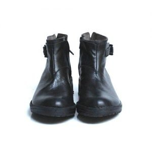 Half boot woman Renato L'Artigiano black leather bottom leather washed black rubber seedling